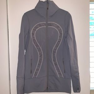 Gray Striped Lululemon Zipper Jacket